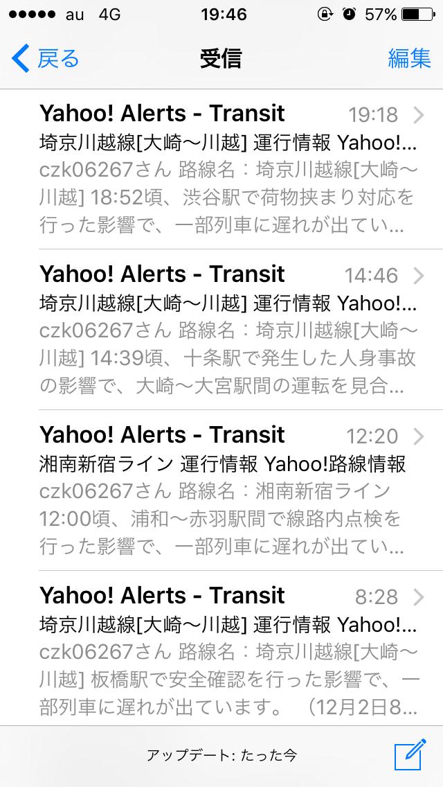 ある日の埼京線運転状況